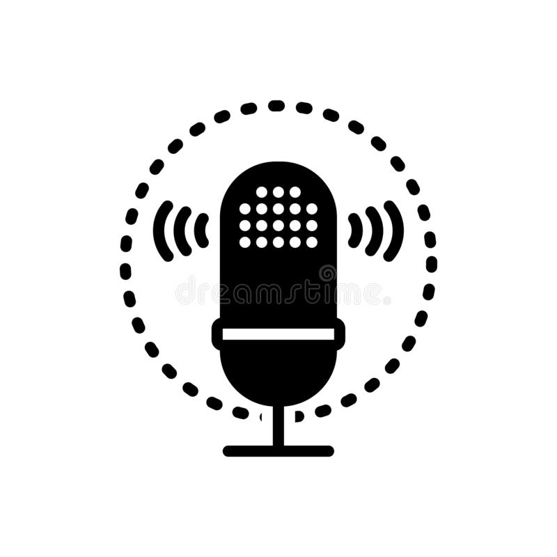 Black solid icon for Voice recognition, waves and biometrics. Black solid icon for Voice recognition, logo, symbol,  waves and biometrics stock illustration