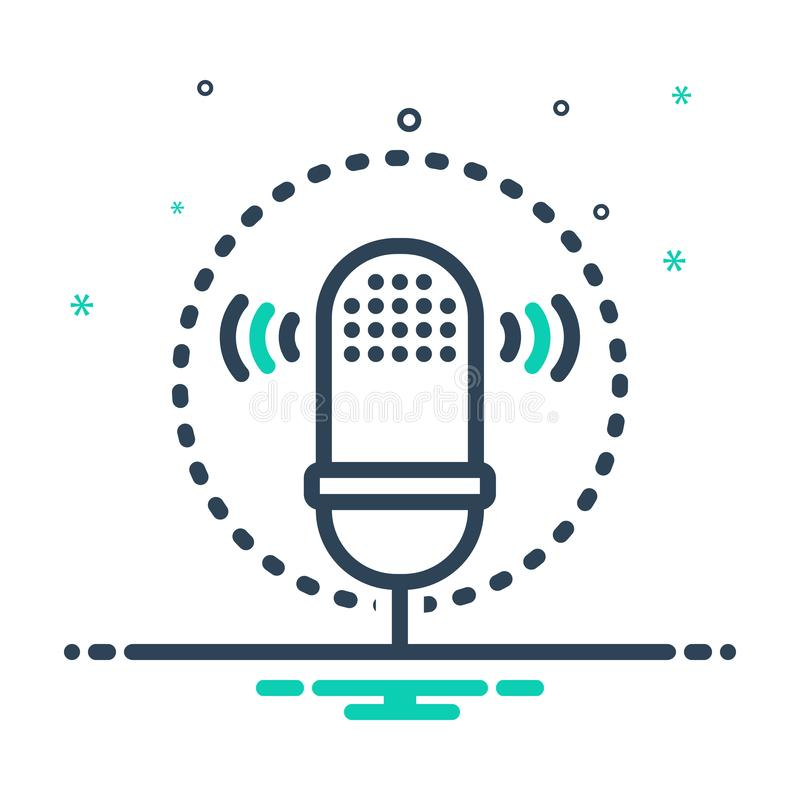 Black mix icon for Voice recognition, waves and biometrics. Black mix icon for Voice recognition, voice, logo, symbol,  waves and biometrics stock illustration