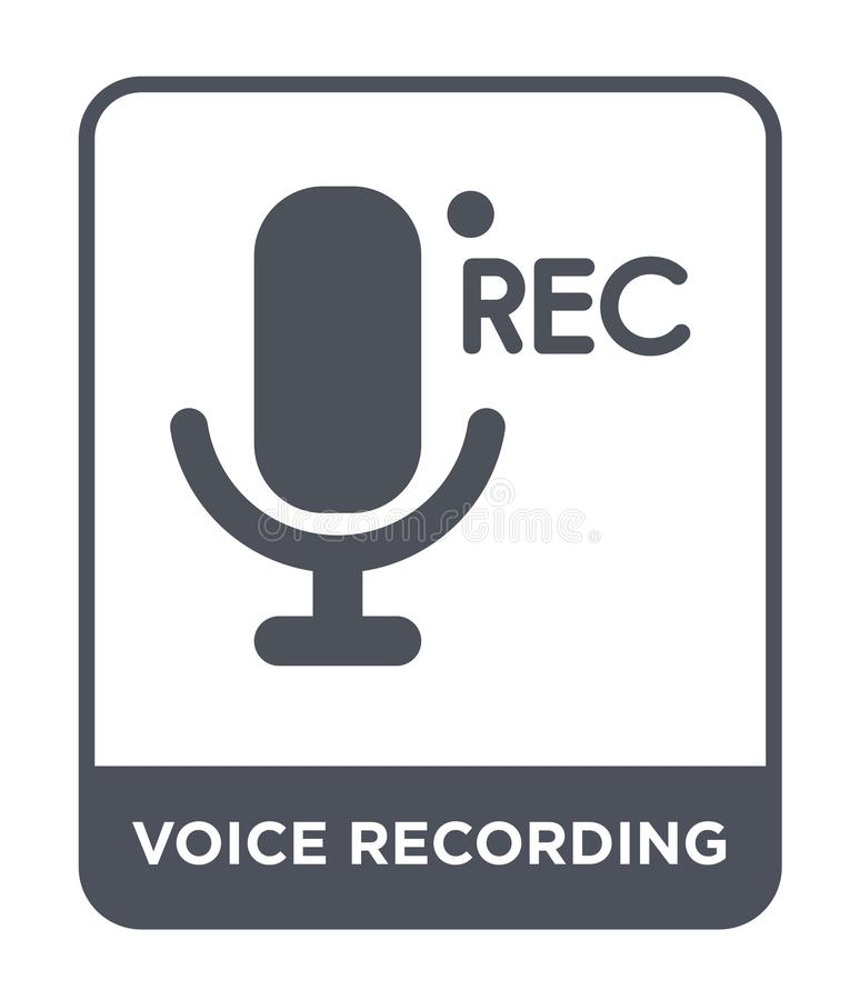 Voice recording icon in trendy design style. voice recording icon isolated on white background. voice recording vector icon simple. And modern flat symbol for royalty free illustration