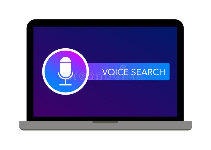 Voice search icon microphone on laptop screen. Isolated on white background vector illustration