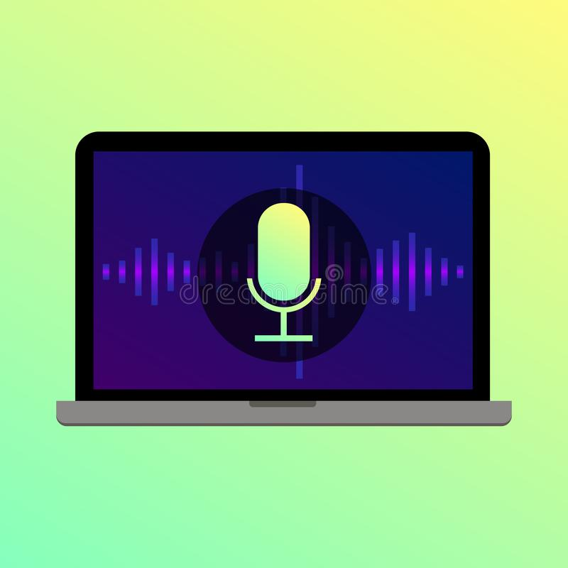 Voice search microphone icon on laptop screen. Voice search icon with microphone and waves on laptop screen with bright gradient  background royalty free illustration