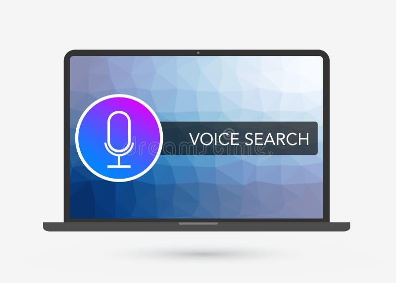 Voice Search-Optimaliserings vlakke illustratie, banner en pictogrammen royalty-vrije illustratie