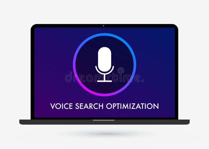 Voice Search-Optimaliserings vlakke illustratie, banner en pictogrammen vector illustratie