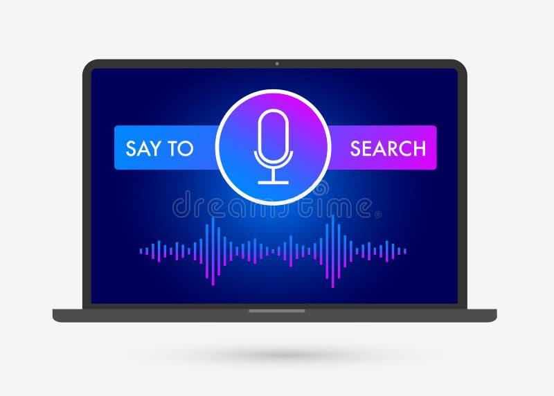 Voice Search-Optimaliserings vlakke illustratie, banner en pictogrammen stock illustratie