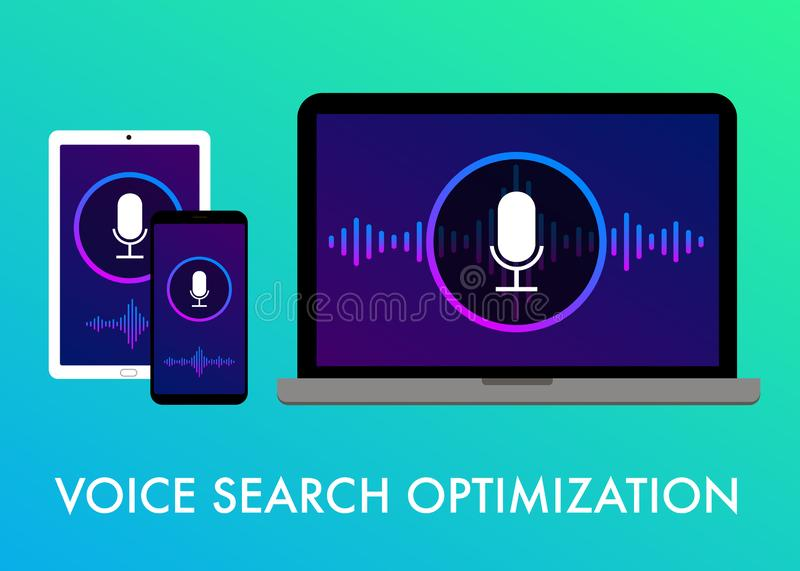 Voice Search Optimization flat vector banner icons. Voice search optimization, Search by Voice flat vector banner illustration and icons on the gradient stock illustration