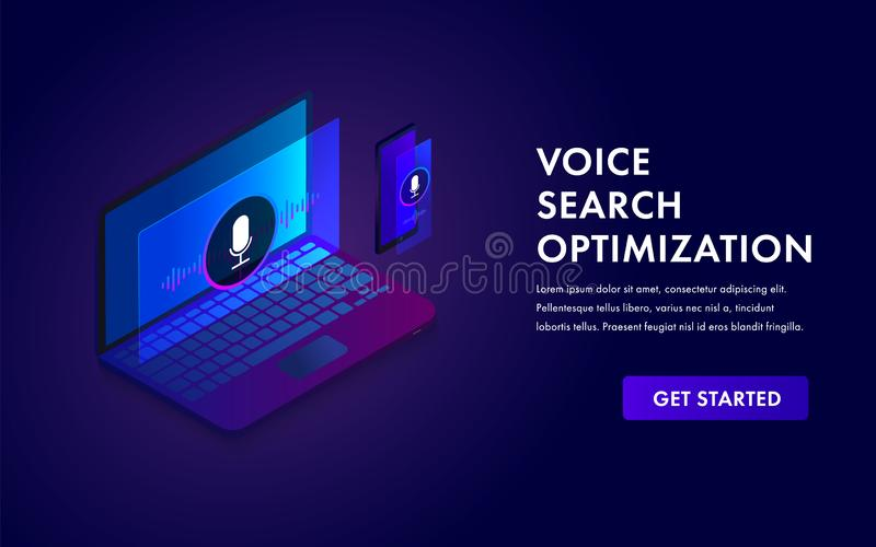 Voice search optimization isometric web concept, Search by Voice technology vector banner illustration for seo website template. With laptop and mobile phone royalty free illustration