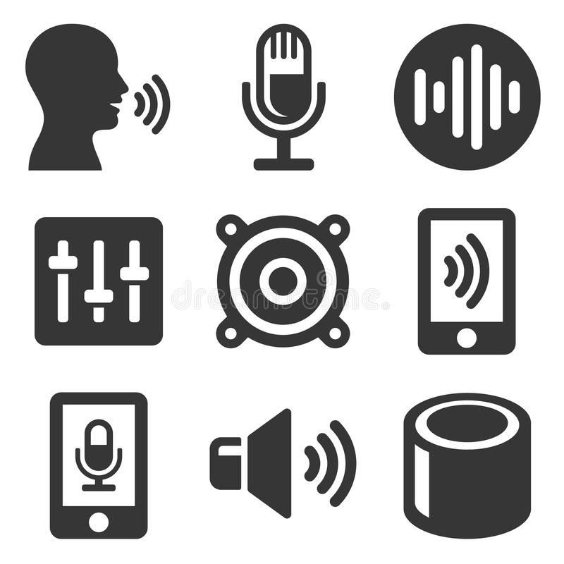 Voice Smart Devices with Sound Wave Icons Set. Vector. Illustration vector illustration