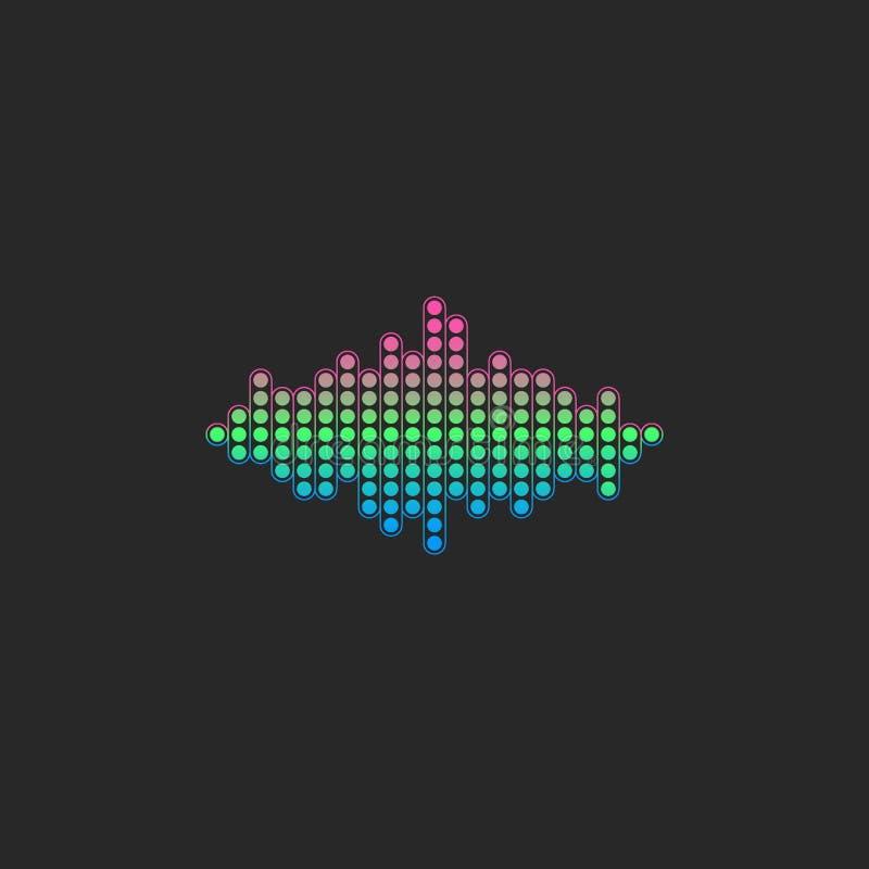 Voice sound wave logo. Gradient color electronic audio equalizer signal vector illustration royalty free illustration