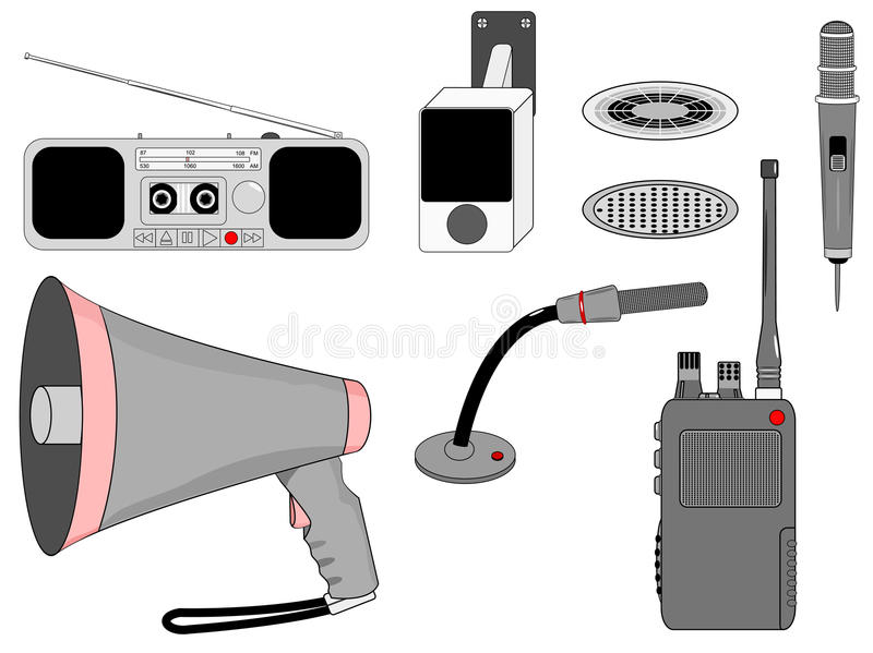 Voice telecommunication devices set. Voice Mass telecommunication devices set vector illustration