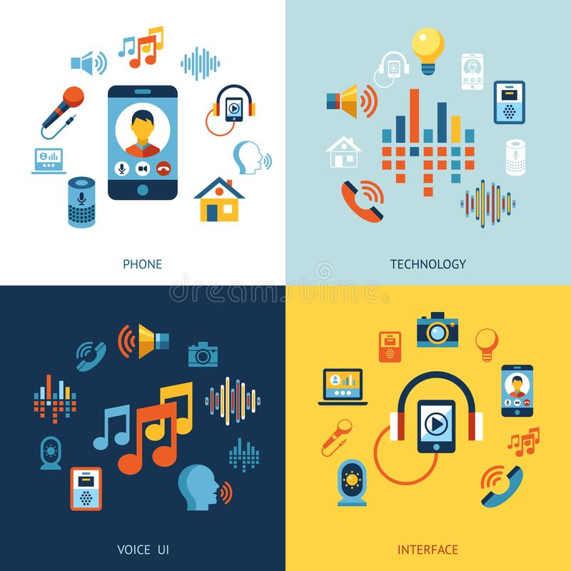 Voice user interface icon set. Digital vector voice control user interface and artificial intelligence icon set infographics stock illustration