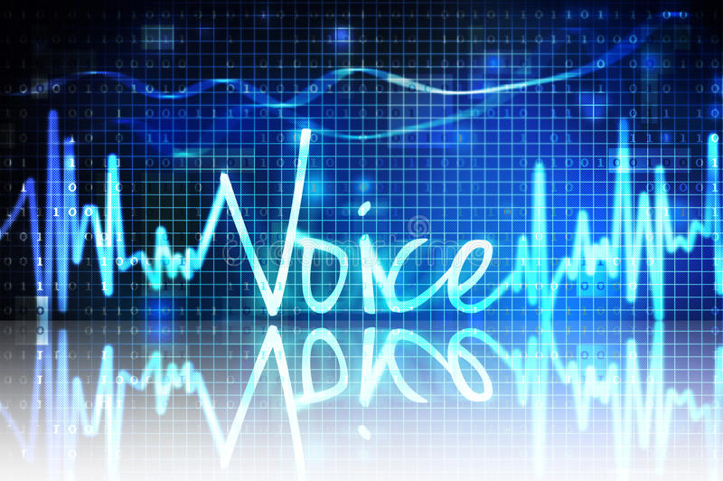 Voice verification. Voice sound wave on blue grid - voice verification royalty free stock photography