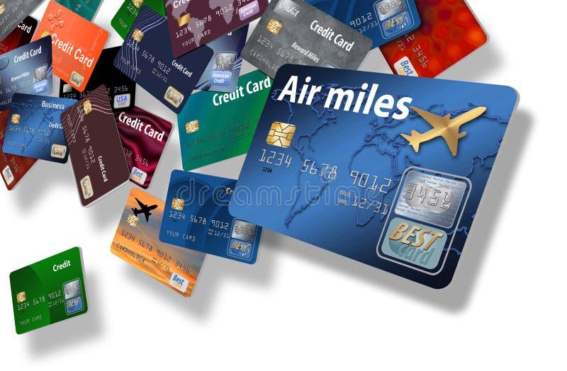 Voici un grand groupement des cartes de crédit qui semblent flotter ou voler illustration libre de droits