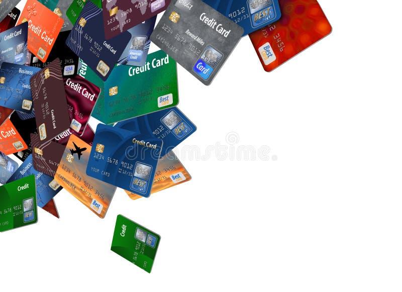 Voici un grand groupement des cartes de crédit qui semblent flotter ou voler illustration de vecteur