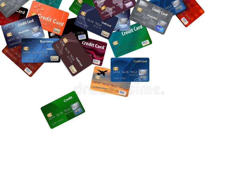 Voici un grand groupement des cartes de crédit qui semblent flotter ou voler illustration stock