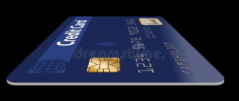 Voici une bonne vue d'une puce d'EMV sur une carte de crédit illustration de vecteur