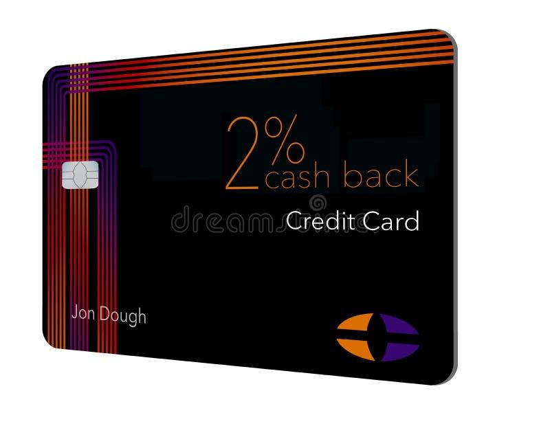 Voici une carte de crédit de dos d'argent liquide de 2 pour cent Cette carte est générique avec de faux logos illustration de vecteur