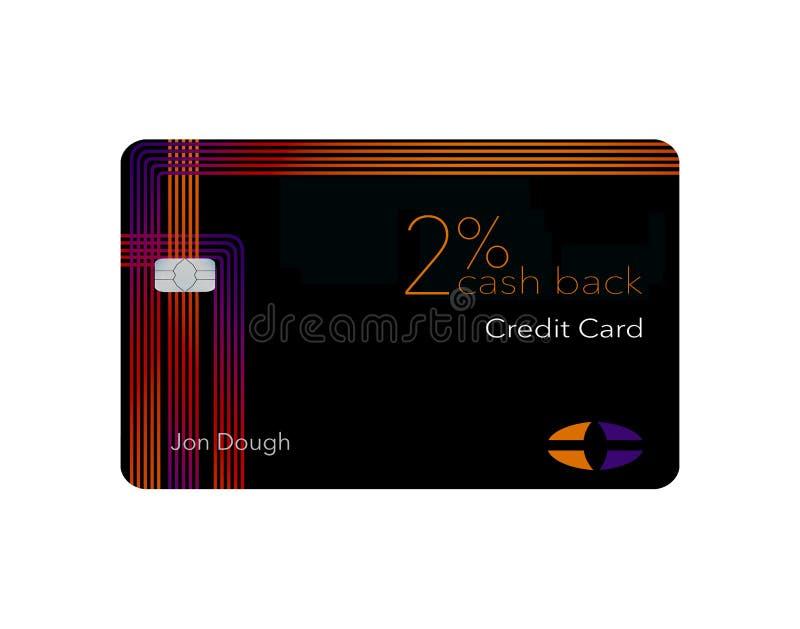 Voici une carte de crédit de dos d'argent liquide de 2 pour cent Cette carte est générique avec de faux logos illustration stock