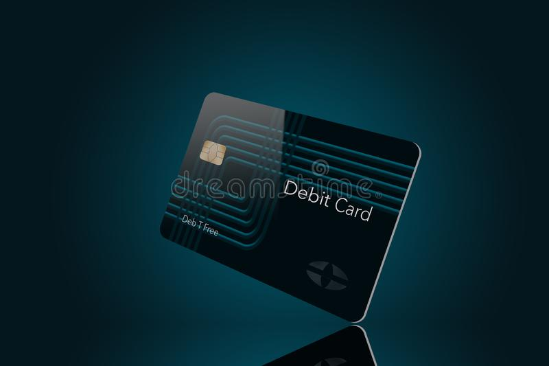 Voici une carte de crédit moderne qui est une moquerie avec le logo générique illustration de vecteur