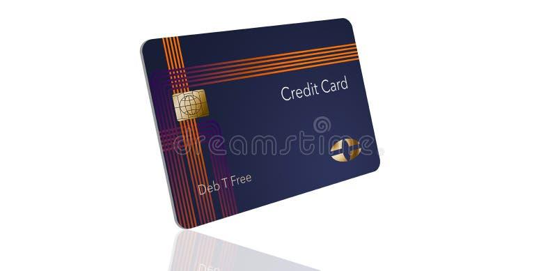 Voici une carte de crédit moderne qui est une moquerie avec le logo générique illustration libre de droits