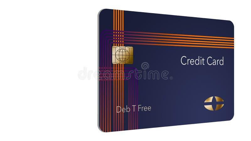 Voici une carte de crédit moderne qui est une moquerie avec le logo générique illustration stock