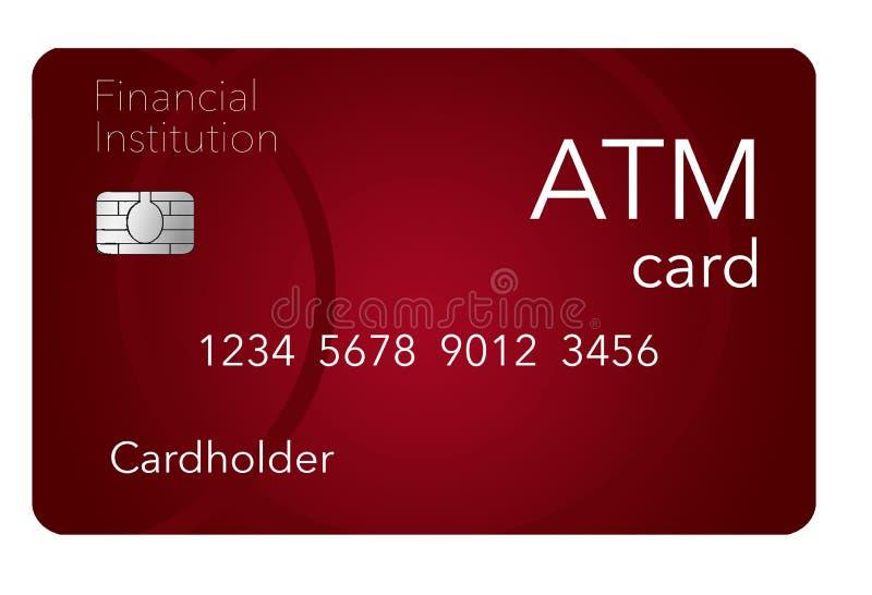 Voici une carte de distributeur bancaire qui est montré avec une carte de débit qui est souvent vraisemblablement identique comme illustration stock