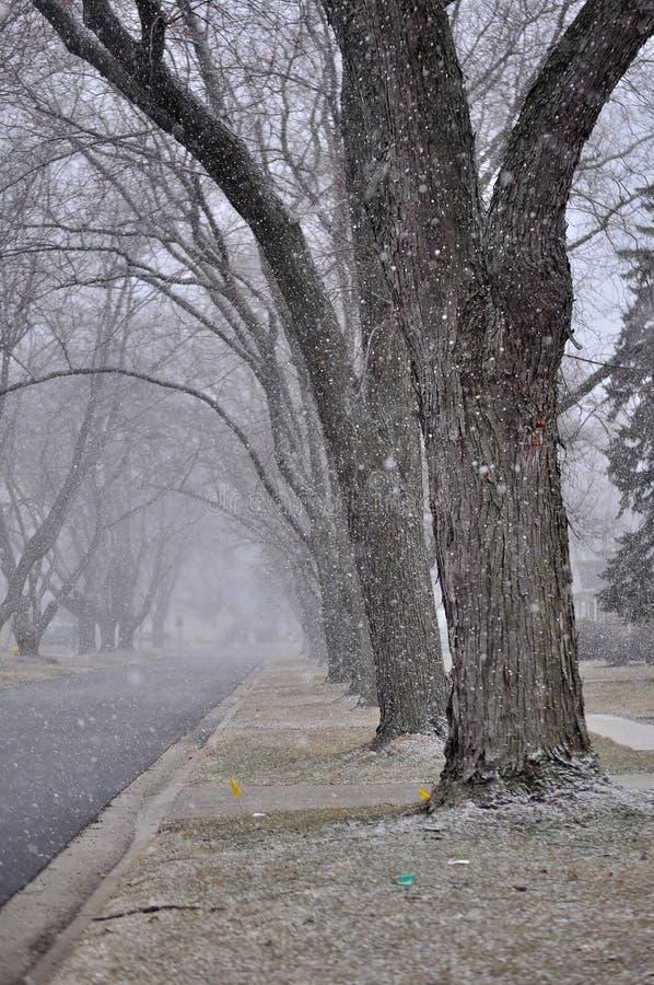 Voici venir la neige photographie stock