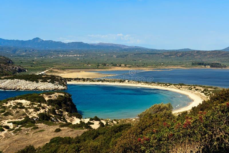 Voidokilia beach, Peloponnese, Greece stock images