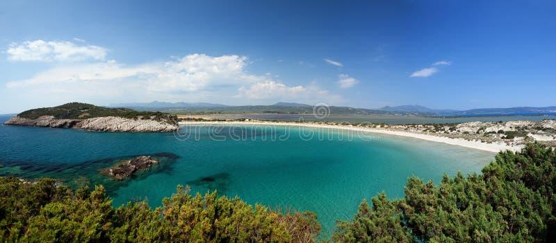 Voidokilia, Gialova, Pylos, Peloponnese. Panoramic view of Voidokilia beach, Gialova beach and lagoon and Pylos in Peloponnese, Greece stock photography