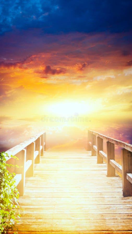 Voie au ciel Escalier au ciel Voie à Dieu Lumière lumineuse de ciel photographie stock libre de droits