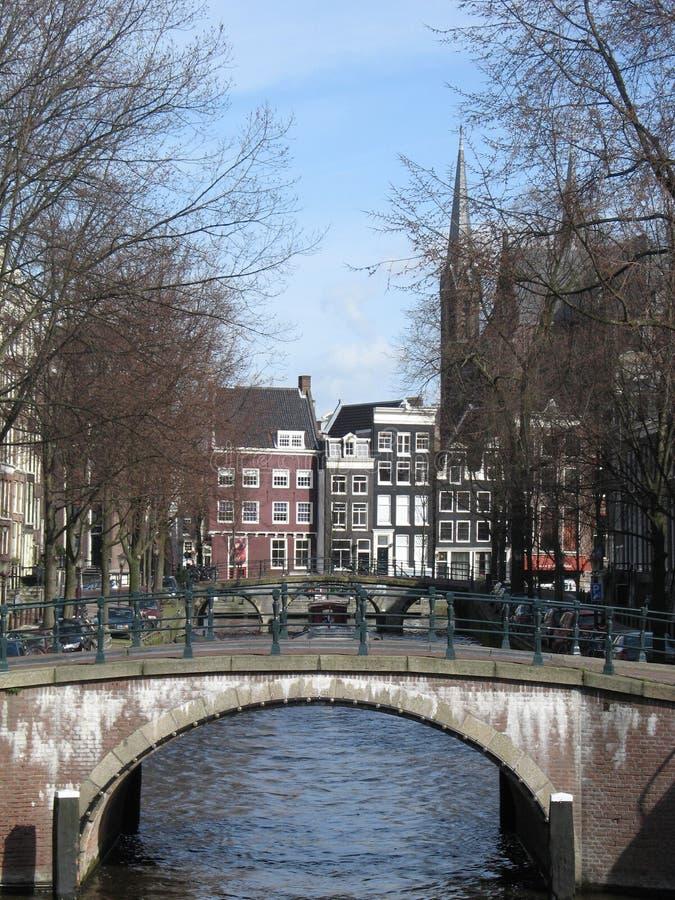 Voie d'eau à Amsterdam images libres de droits