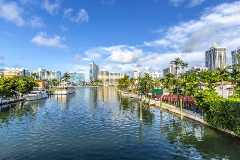 Voie d'eau dans Miami Beach image stock
