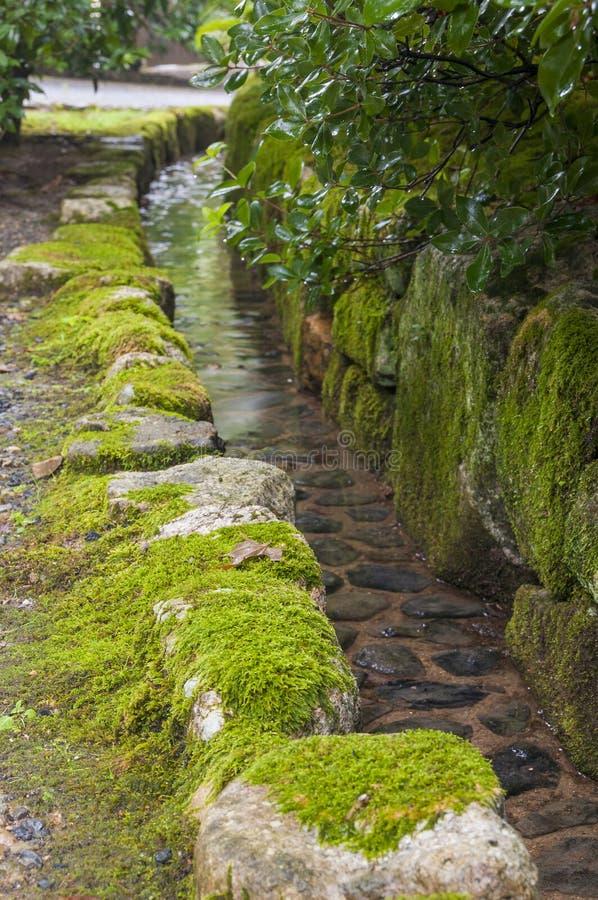 Voie d'eau japonaise traditionnelle de jardin photo libre de droits