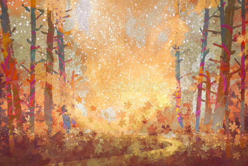Voie dans la forêt d'automne illustration de vecteur