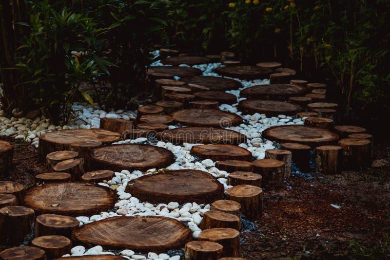 Voie dans le jardin, pelouses vertes avec des voies en bois de plancher photographie stock