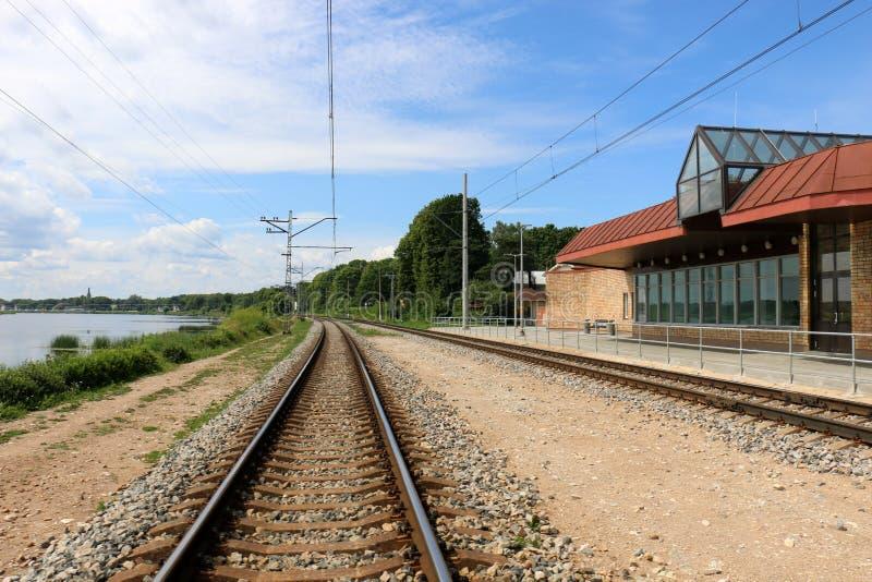 Voie de chemin de fer - route avec le guide de voie ferroviaire images stock