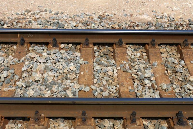 Voie de chemin de fer - route avec le guide de voie ferroviaire images libres de droits