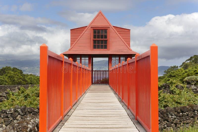Voie en bois rouge de point de vue dans le vignoble d'île de Pico azores PO photo stock