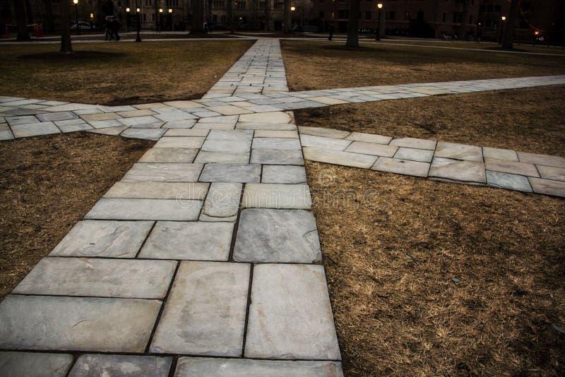 Voie en pierre au milieu d'un parc chez Yale University, New Haven, le Connecticut photographie stock