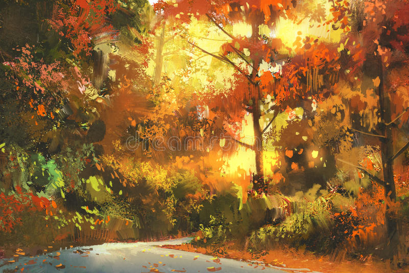 Voie par la forêt colorée illustration de vecteur