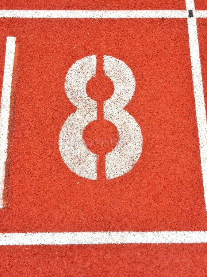 Voie pulsante 8 d'athlétisme photographie stock