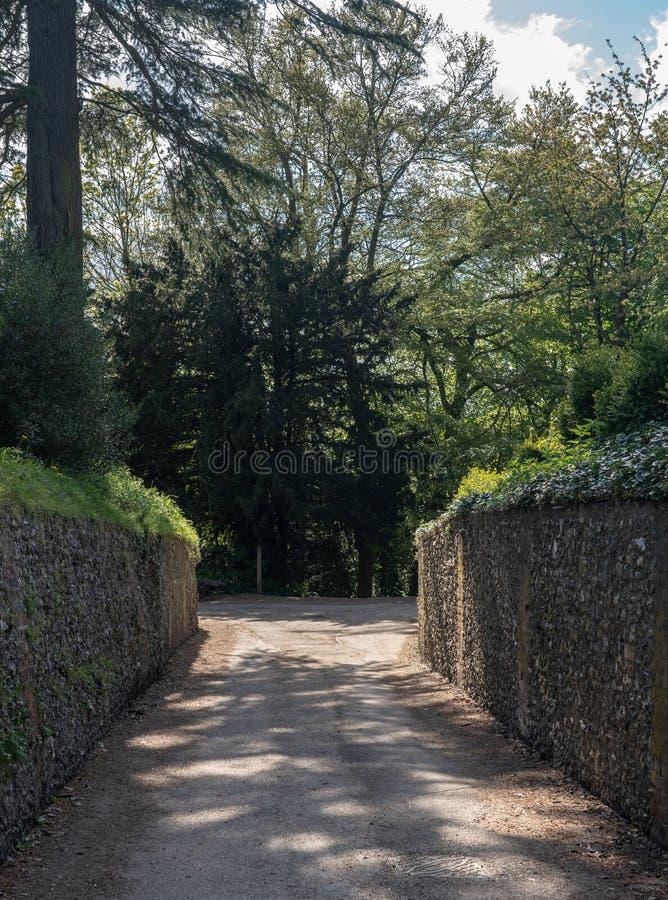 Voie traditionnelle étroite de mur en pierre menant à la forêt images libres de droits