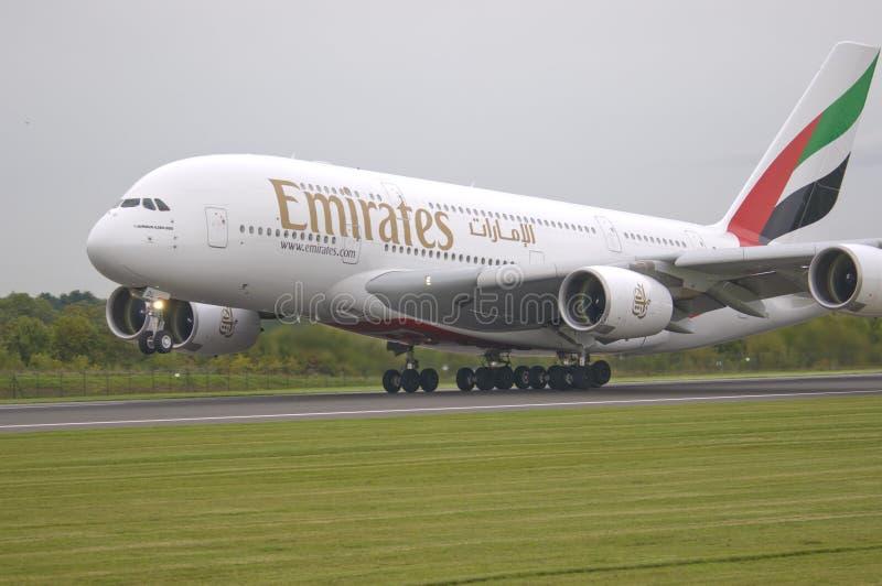 Voies aériennes A380 d'Emirats image stock