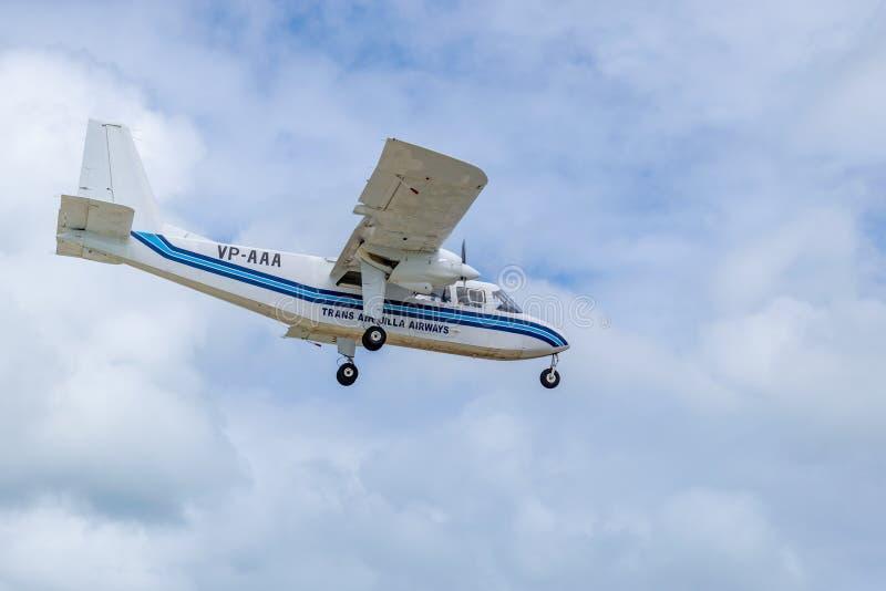 Voies aériennes VP-AAA, un avion Britten-normand de transport Anguilla de l'insulaire BN-2A-21 photographie stock