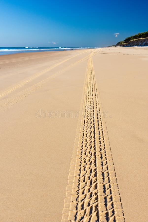 Voies dans le sable sur la plage photo stock