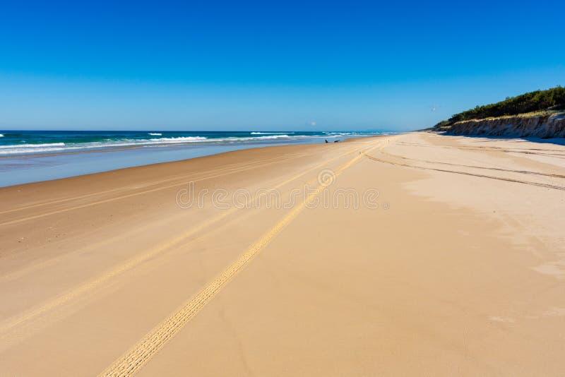 Voies dans le sable sur la plage photos stock