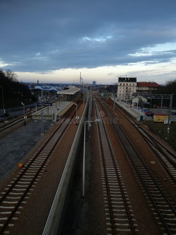 Voies de chemin de fer à Cracovie image libre de droits