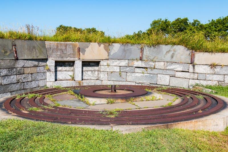 Voies de fer pour 15-Inch Rodman Gun chez Fort Monroe photographie stock
