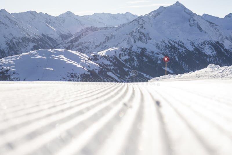 Voies de ski sur une piste toilett?e fra?che photographie stock libre de droits