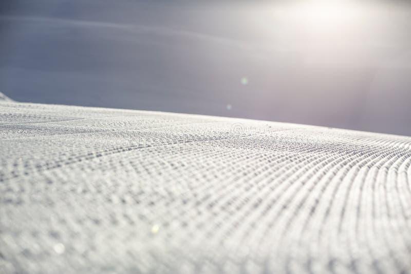 Voies de ski sur une piste toilett?e fra?che image libre de droits