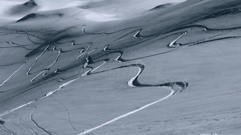 Voies de surf des neiges dans la poudre photos libres de droits